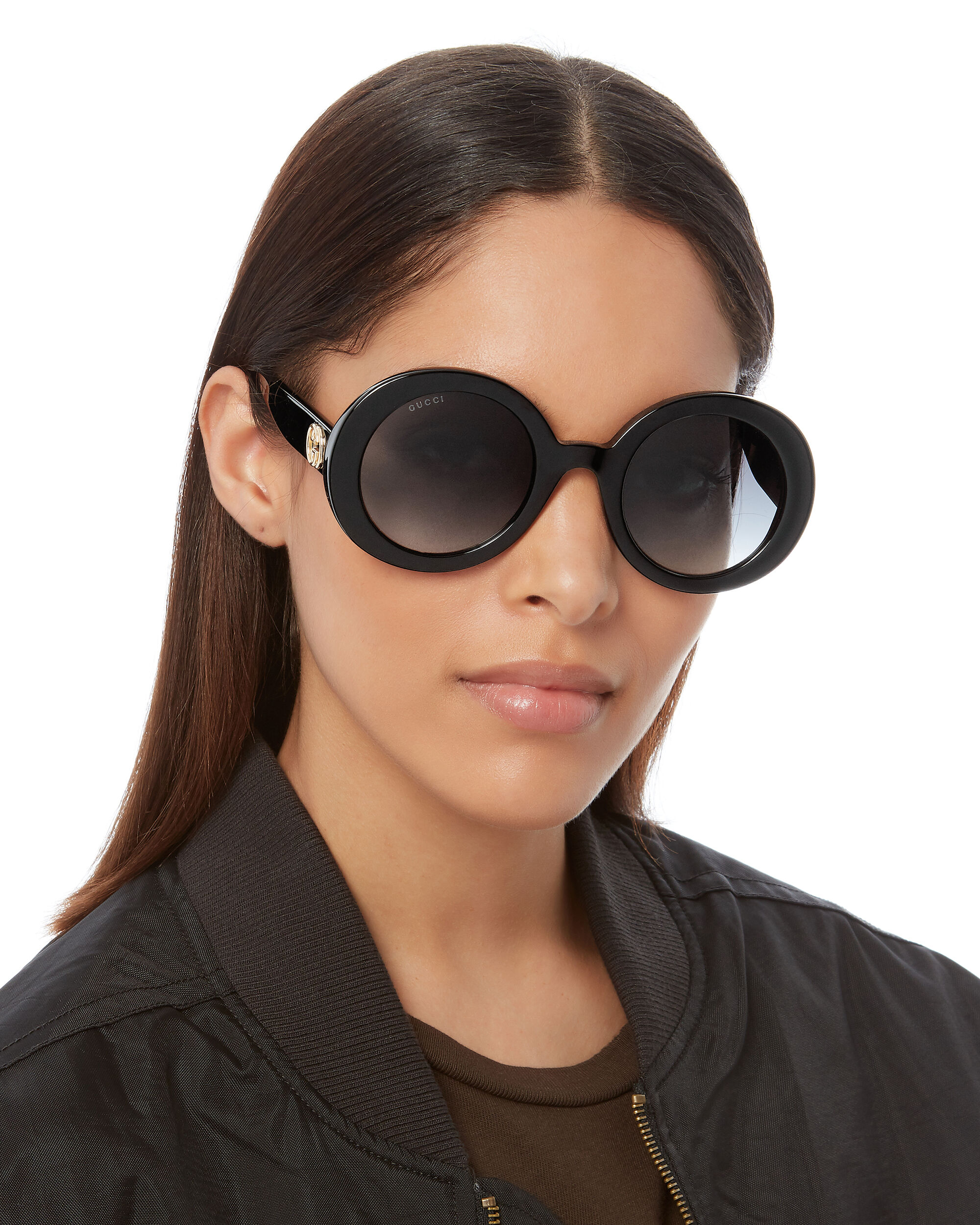 Thick Round Sunglasses, BLACK, hi-res