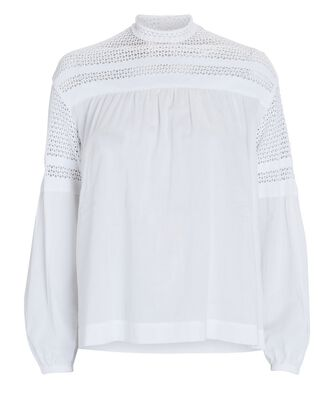 Remi Voile High Neck Blouse, WHITE, hi-res