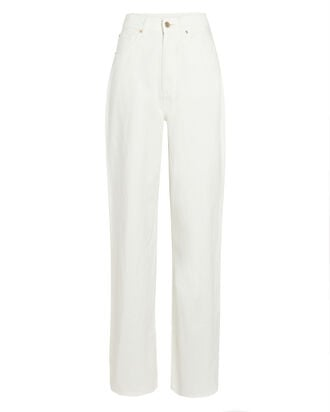 High-Rise Wide-Leg Jeans, WHITE, hi-res