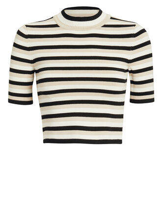Striped Mock Neck Crop Top, BLACK/BEIGE/WHITE, hi-res