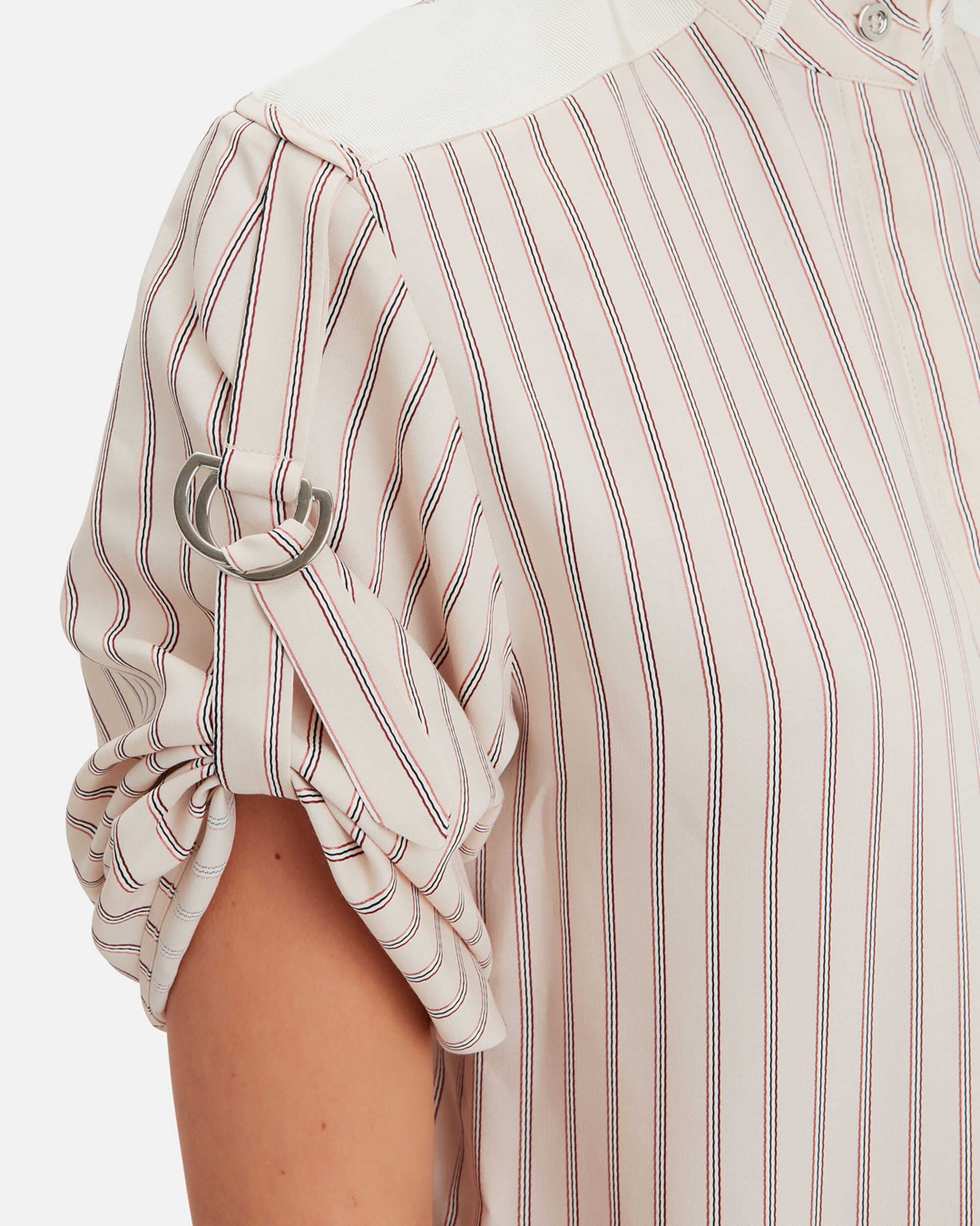 Gathered Sleeve Striped Silk Top, IVORY, hi-res