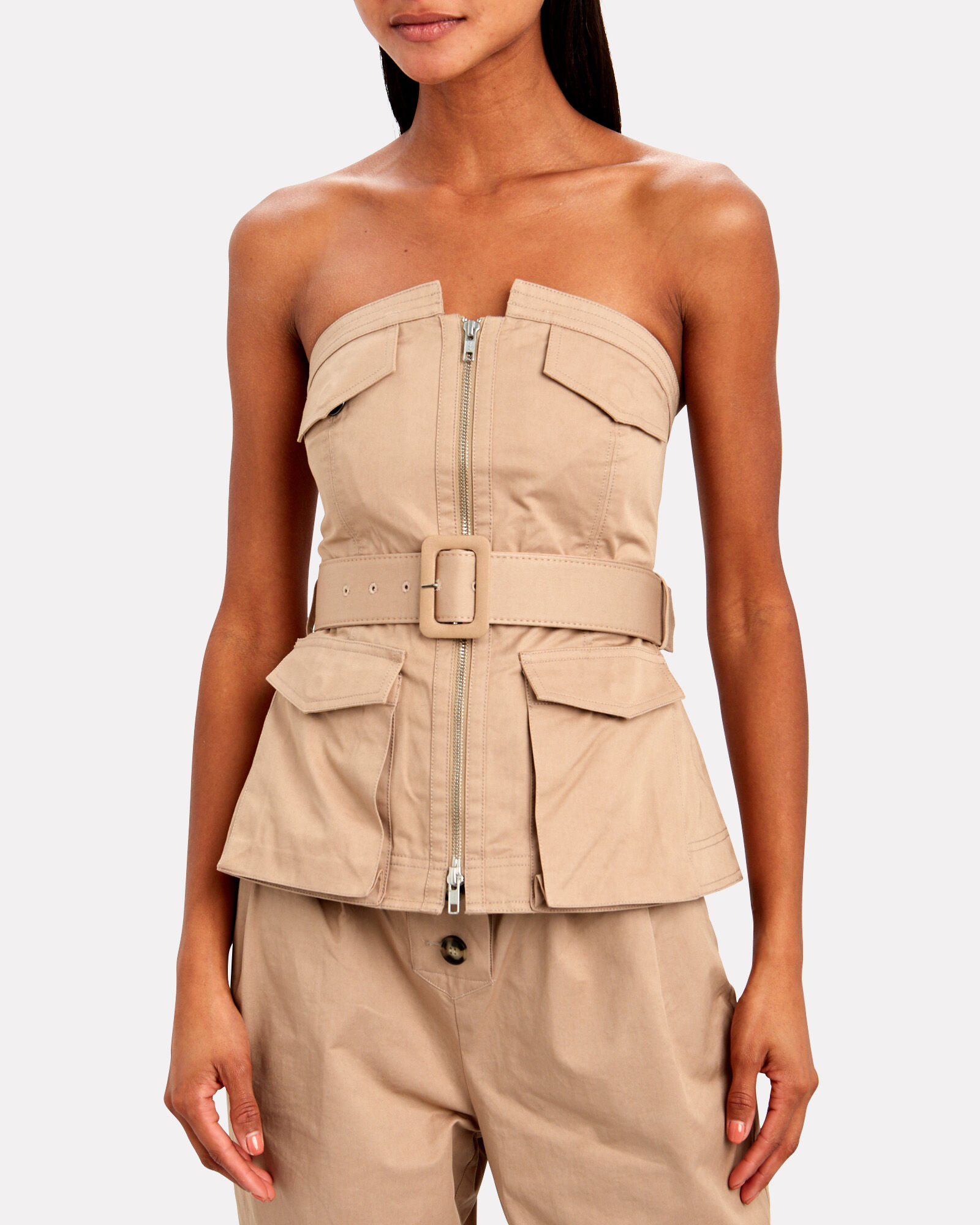 Belted Strapless Trench Top, BEIGE, hi-res