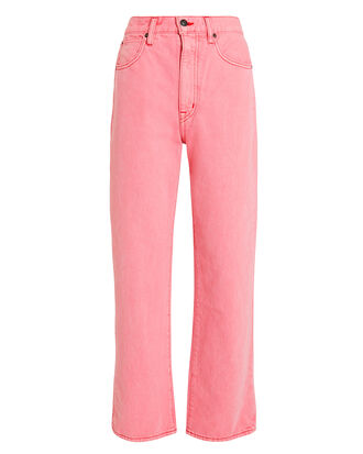 London Straight Leg Crop Jeans, PINK, hi-res
