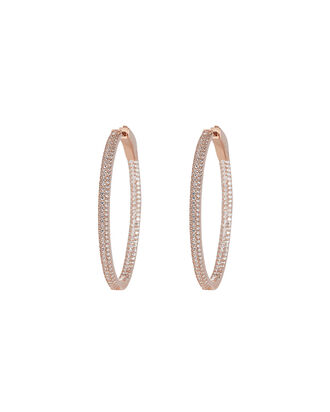 Slim Tire Crystal Earrings, ROSE GOLD, hi-res