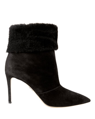 Banner Shearling Booties, BLACK, hi-res