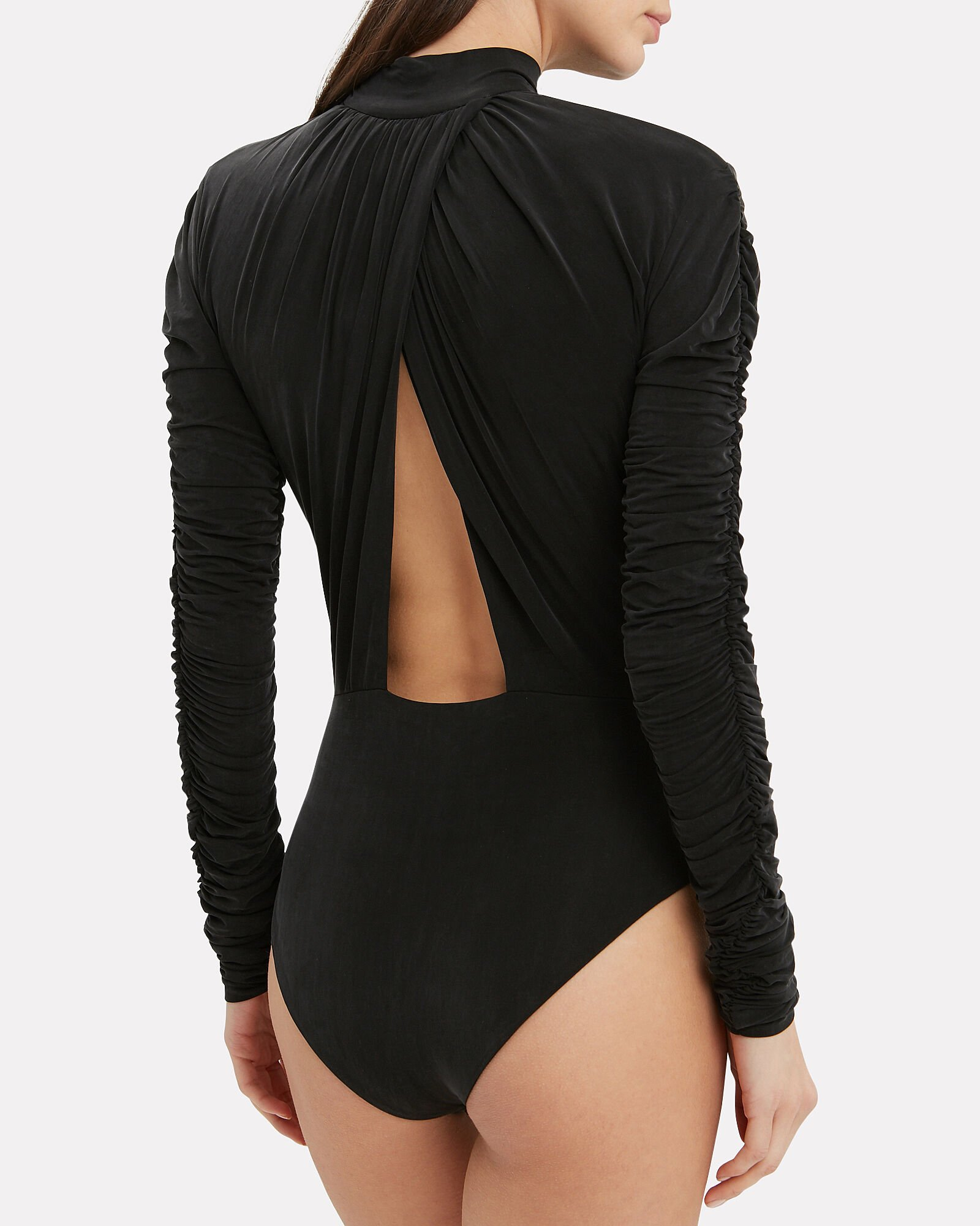 Stretch Jersey Gathered Bodysuit, BLACK, hi-res