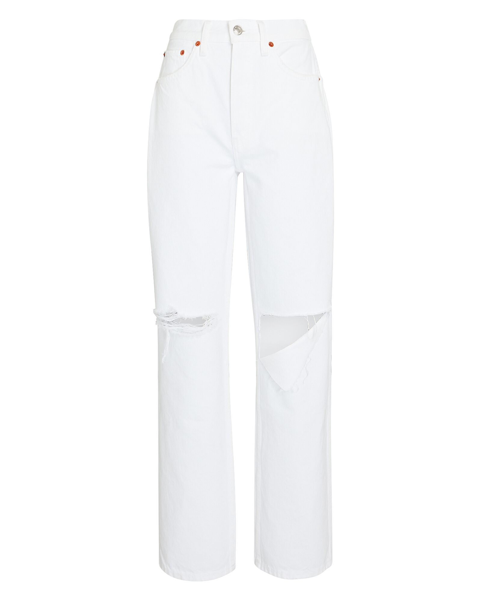 High-Rise Loose Straight Jeans, WHITE WITH RIPS, hi-res