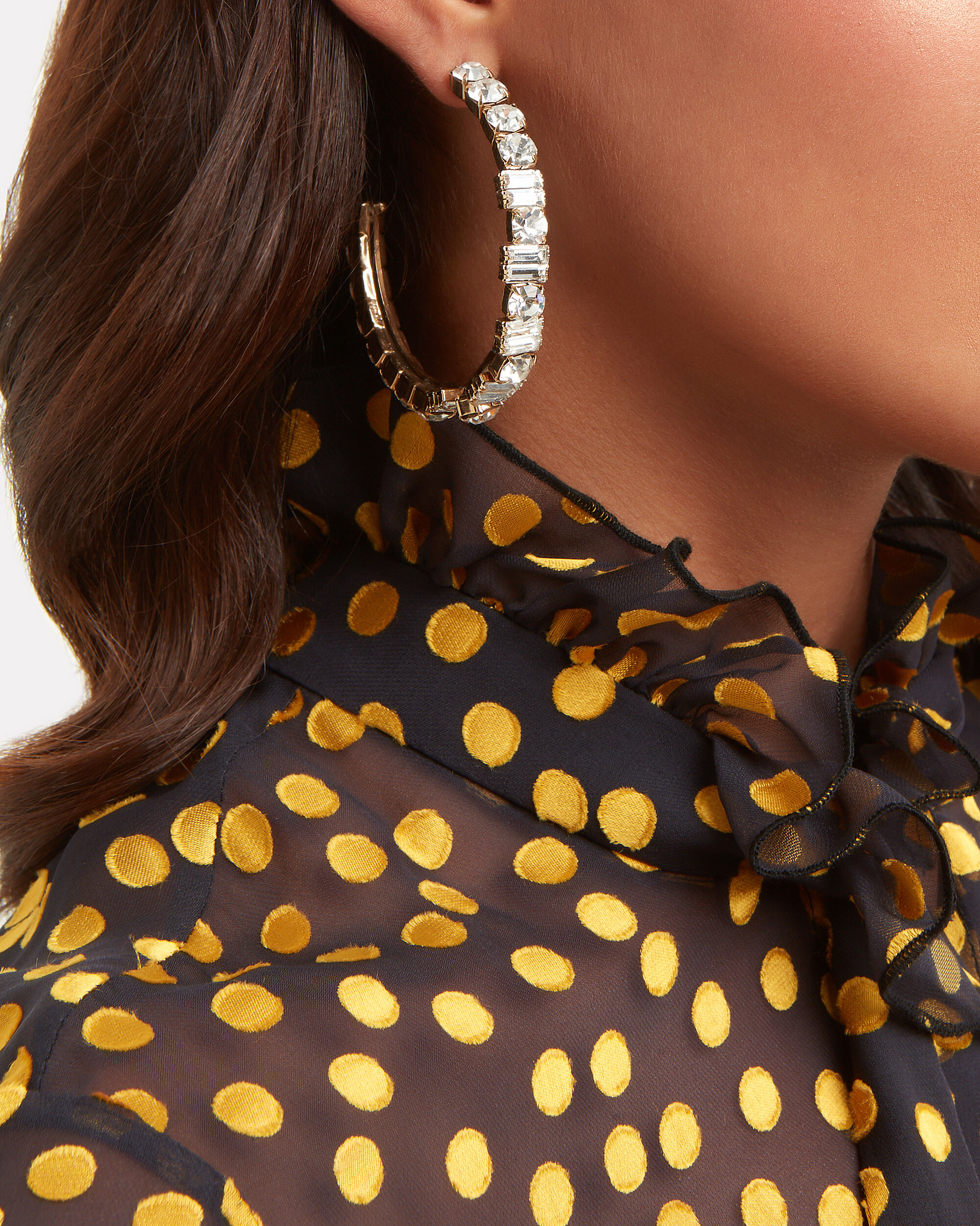 Gelo Baguette and Round Crystal Hoops, GOLD, hi-res