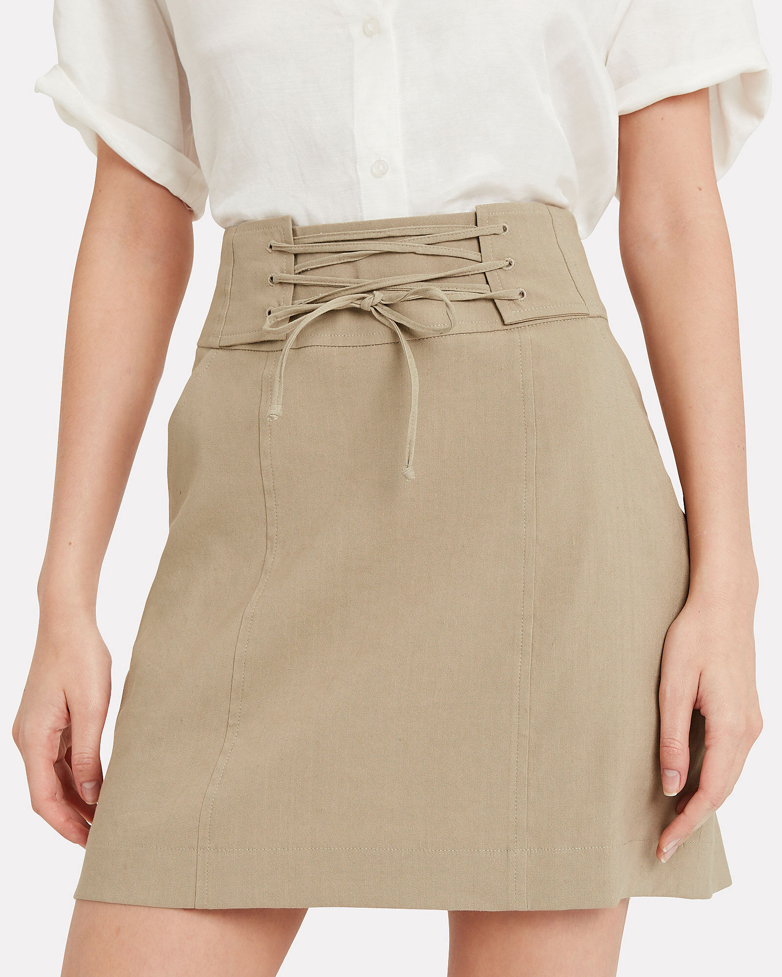 Alice Lace Up Mini Skirt, BEIGE, hi-res