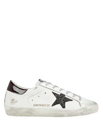 Superstar Black Glitter Star Low-Top Sneakers, WHITE/SILVER/BURGUNDY, hi-res