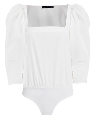 White Puff Sleeve Bodysuit, WHITE, hi-res