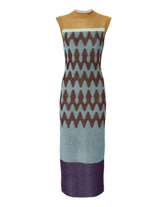 Jacquard Lamé Knit Midi Dress, MULTI, hi-res
