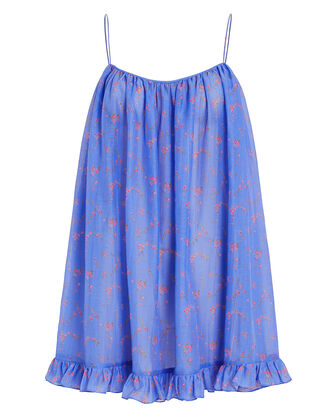 Voile Floral Ruffled Tunic Dress, BLUE/FLORAL, hi-res