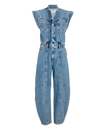 Maria Cap Sleeve Denim Jumpsuit, LINGER, hi-res