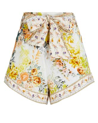 Floral Linen Tie-Waist Shorts, WHITE/YELLOW, hi-res