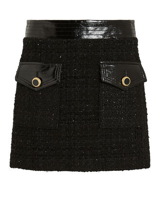 Lucy Vegan Leather-Trimmed Tweed Skirt, BLACK, hi-res