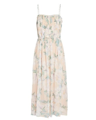 Jade Floral Silk Midi Dress, BEIGE, hi-res