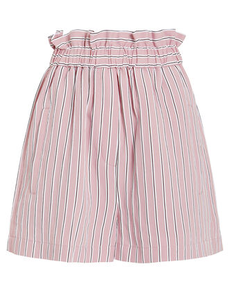 Striped Twill Shirred Shorts, DUSTY PINK, hi-res