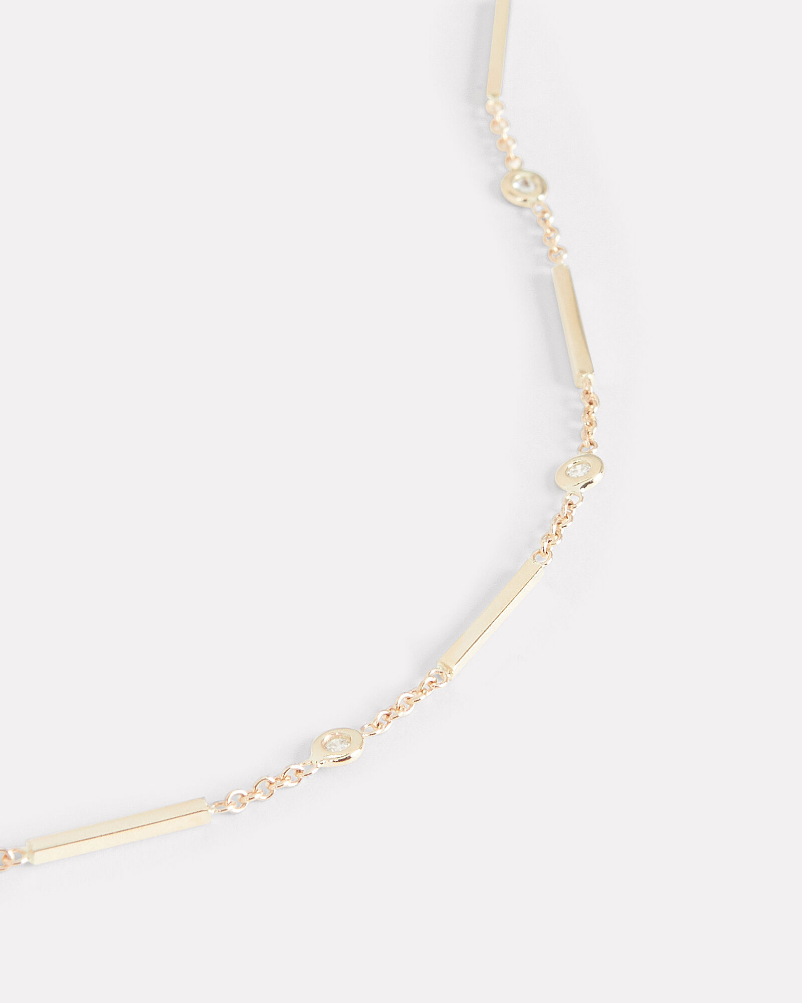 Diamond & Bar Chain Choker, GOLD, hi-res
