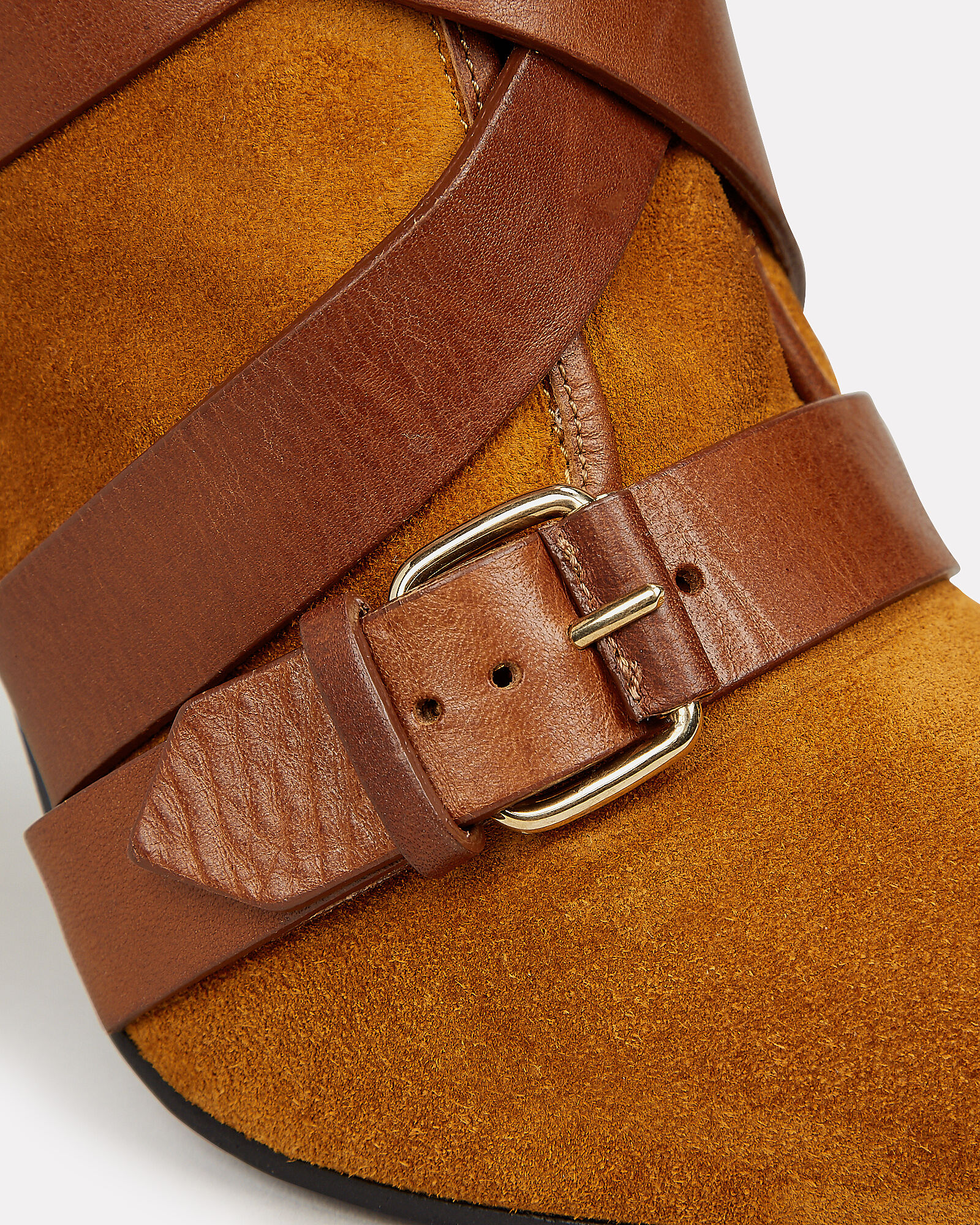 Jackie Buckled Strap Boots, BROWN, hi-res