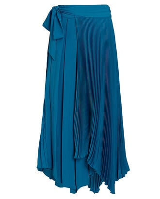 Delia Pleated Wrap Skirt, BLUE, hi-res