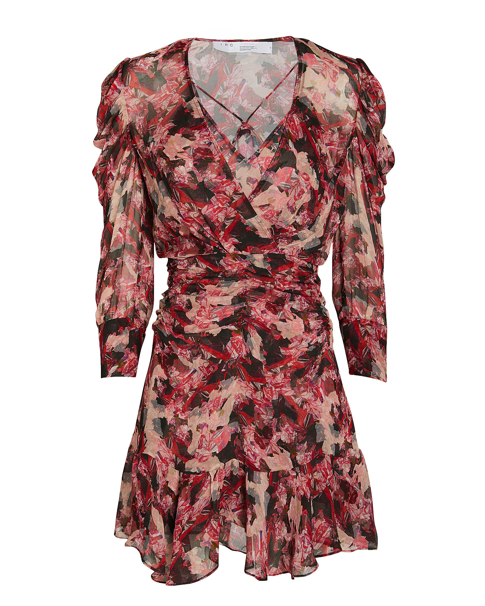 Wick Crepe Floral Mini Dress, PINK/BLACK FLORAL, hi-res