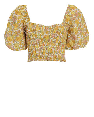 Robina Smocked Floral Crop Top, , hi-res