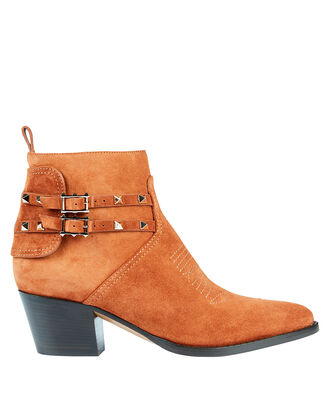 Rockstud Suede Western Booties, BROWN, hi-res