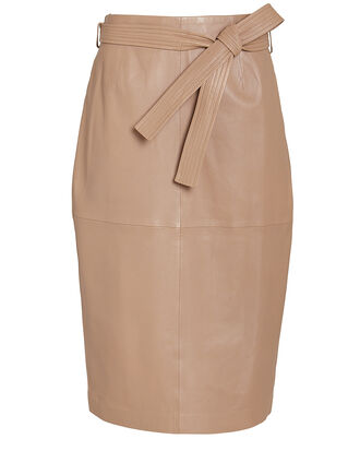Alouetta Leather Skirt, BEIGE, hi-res