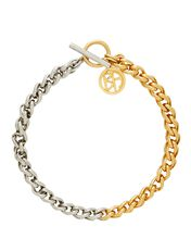 Asteriod Mixed Chain-Link Necklace, GOLD, hi-res