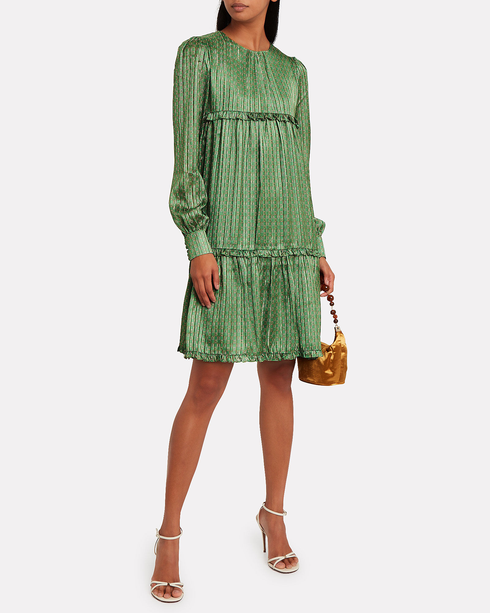 Conny Pleated Crepe Swing Dress, GREEN, hi-res