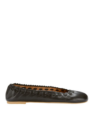 Jane Leather Ballet Flats, BLACK, hi-res