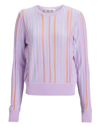 Laren Stripe Sweater, LILAC/STRIPE, hi-res
