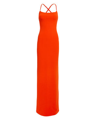Saruo Cross Strap Red Gown, RED, hi-res