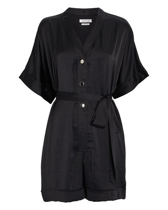 Satin Short Sleeve Romper, BLACK, hi-res