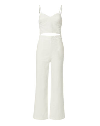 Peek A Boo White Denim Jumpsuit, WHITE, hi-res