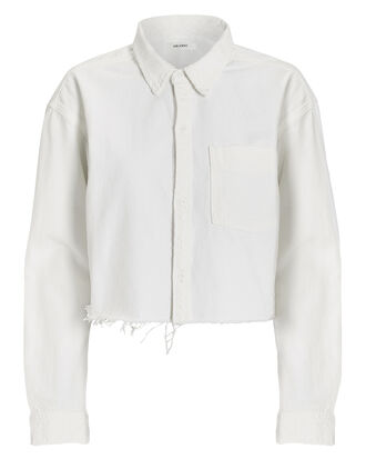 Christy Cropped Denim Shirt, WHITE, hi-res