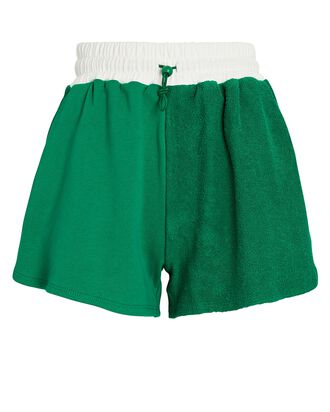 Bungee Cotton Terry Track Shorts, GREEN, hi-res