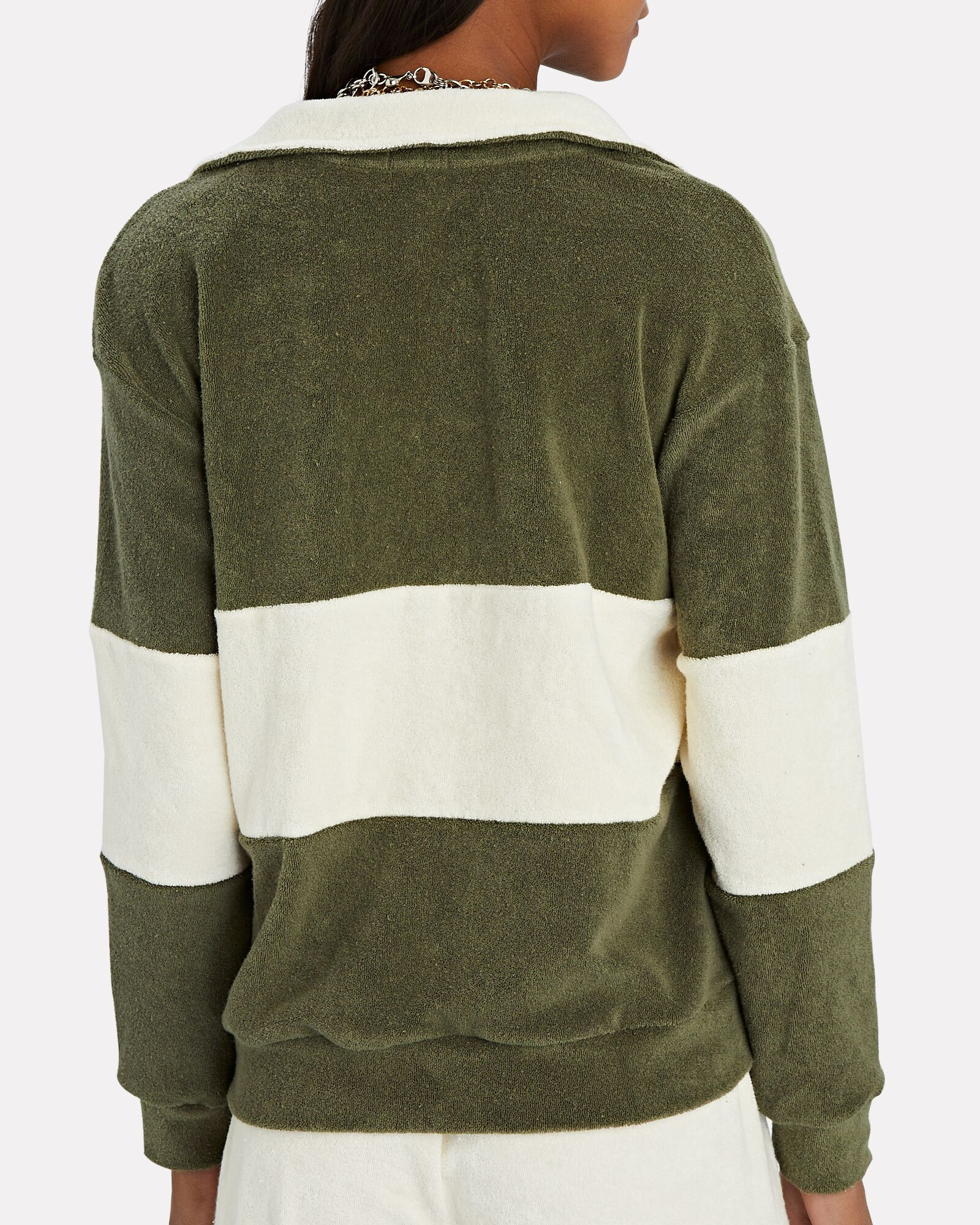 Terry Half-Zip Sweatshirt, GREEN, hi-res