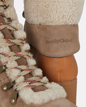 Shearling Lace-Up Hiker Booties, BEIGE, hi-res