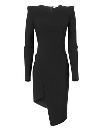 Strong Shoulder Asymmetric Dress, BLACK, hi-res