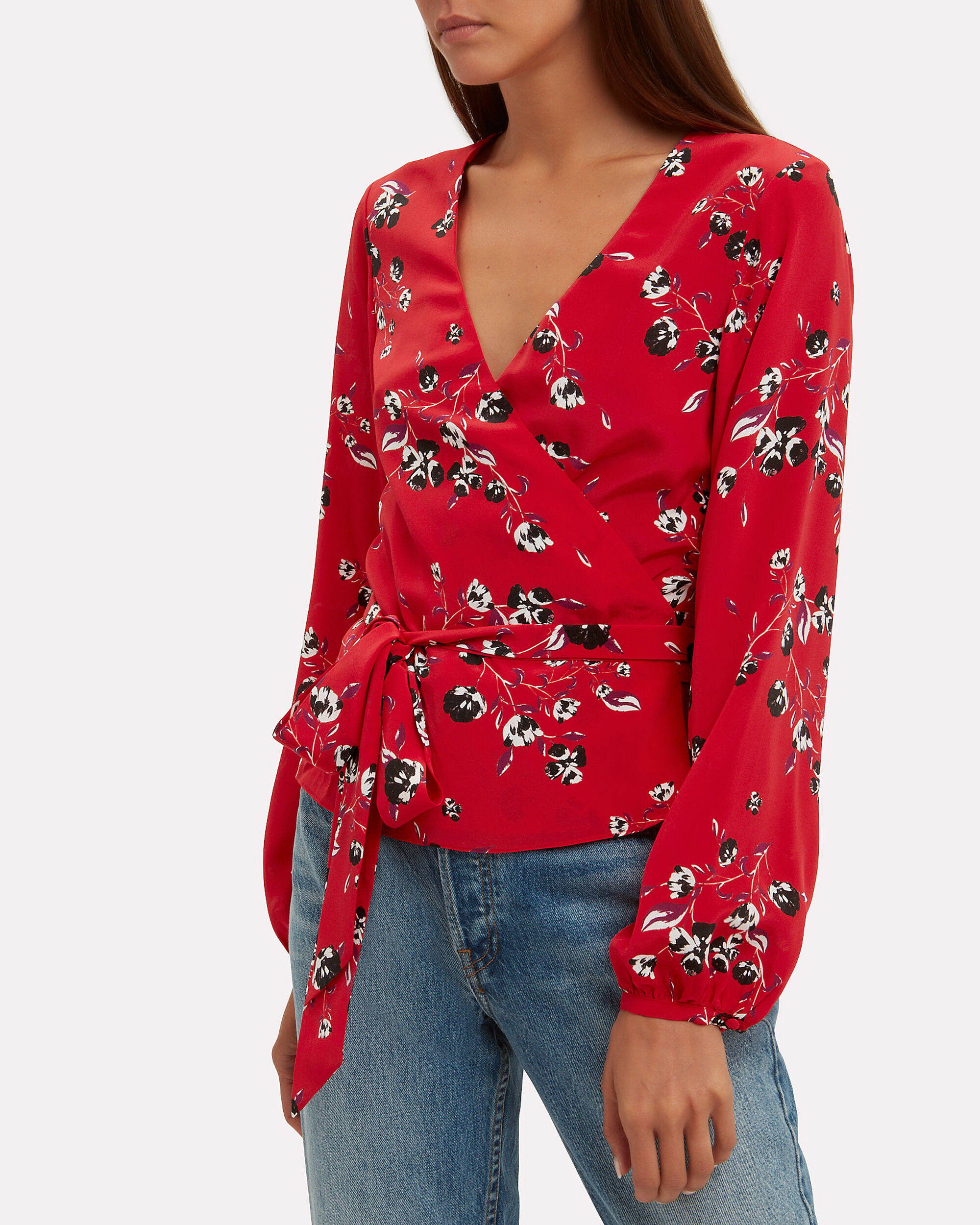 Devon Printed Wrap Top, RED/FLORAL, hi-res