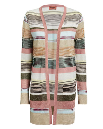 Blush Lurex Stripe Cardigan, BLUSH/BEIGE, hi-res
