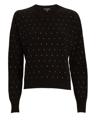 Deanna Rhinestone Wool-Cashmere Sweater, BLACK, hi-res