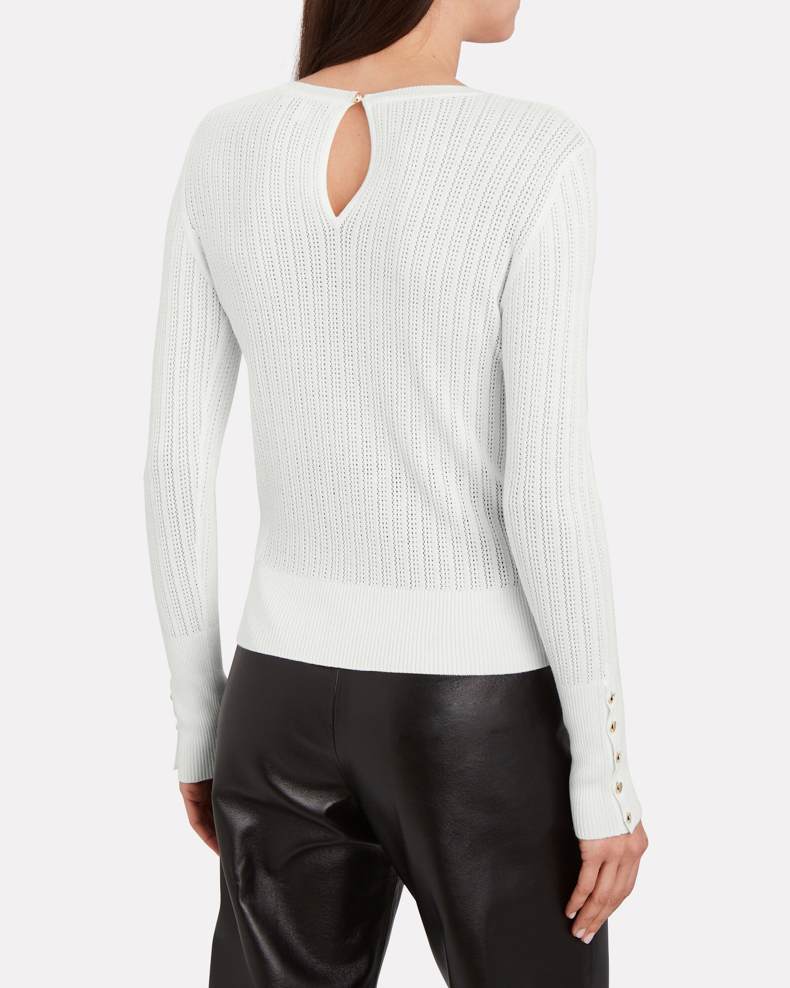 Coralie Pointelle Knit Top, IVORY, hi-res