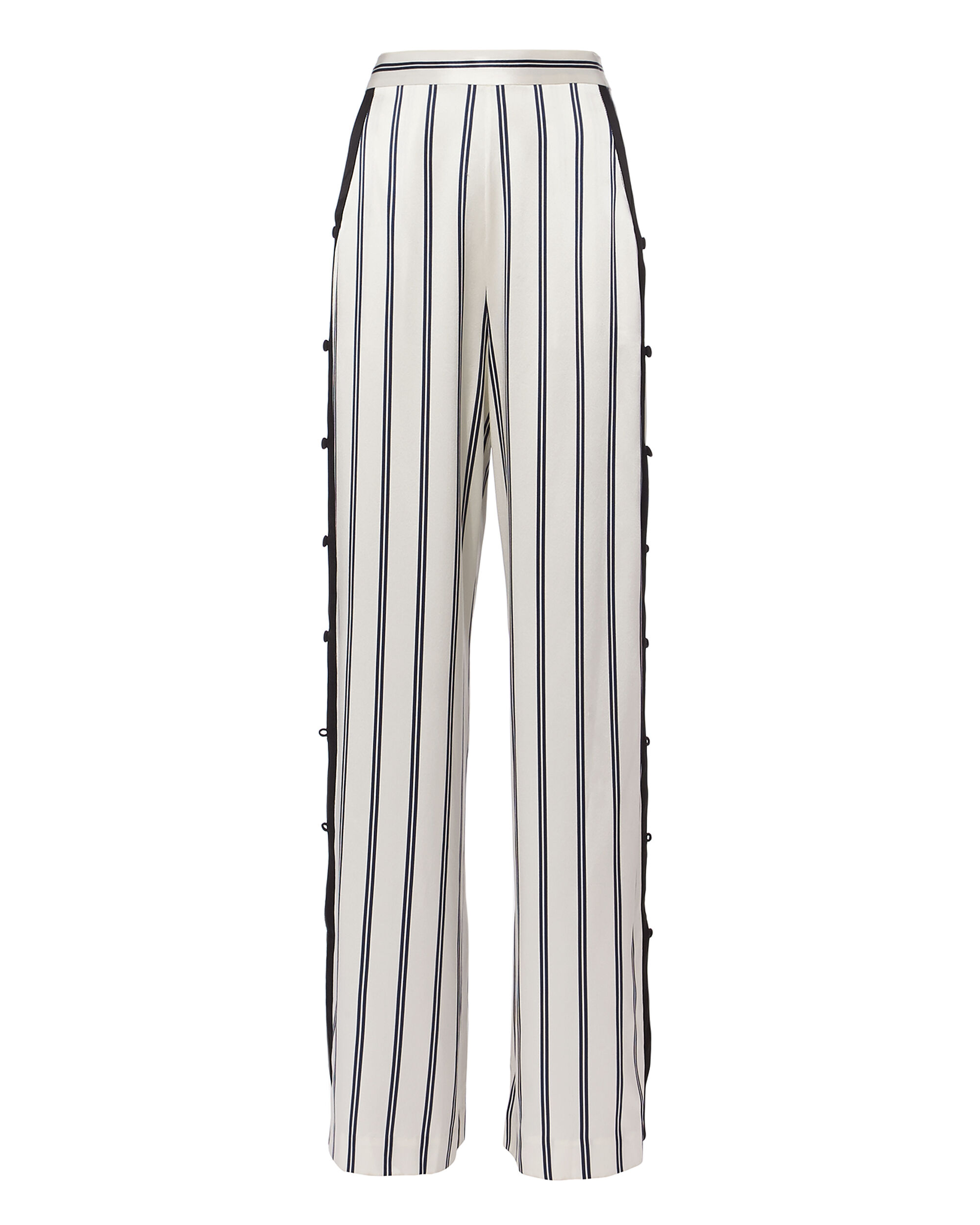 FLEUR DU MAL Striped Silk-Charmeuse Wide-Leg Pants in Black