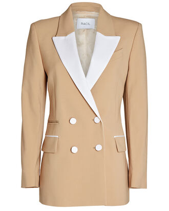 Felix Double-Breasted Tuxedo Blazer, BEIGE, hi-res