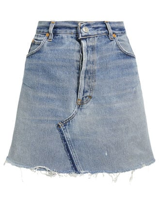 High-Rise Denim Mini Skirt, LIGHT BLUE DENIM, hi-res