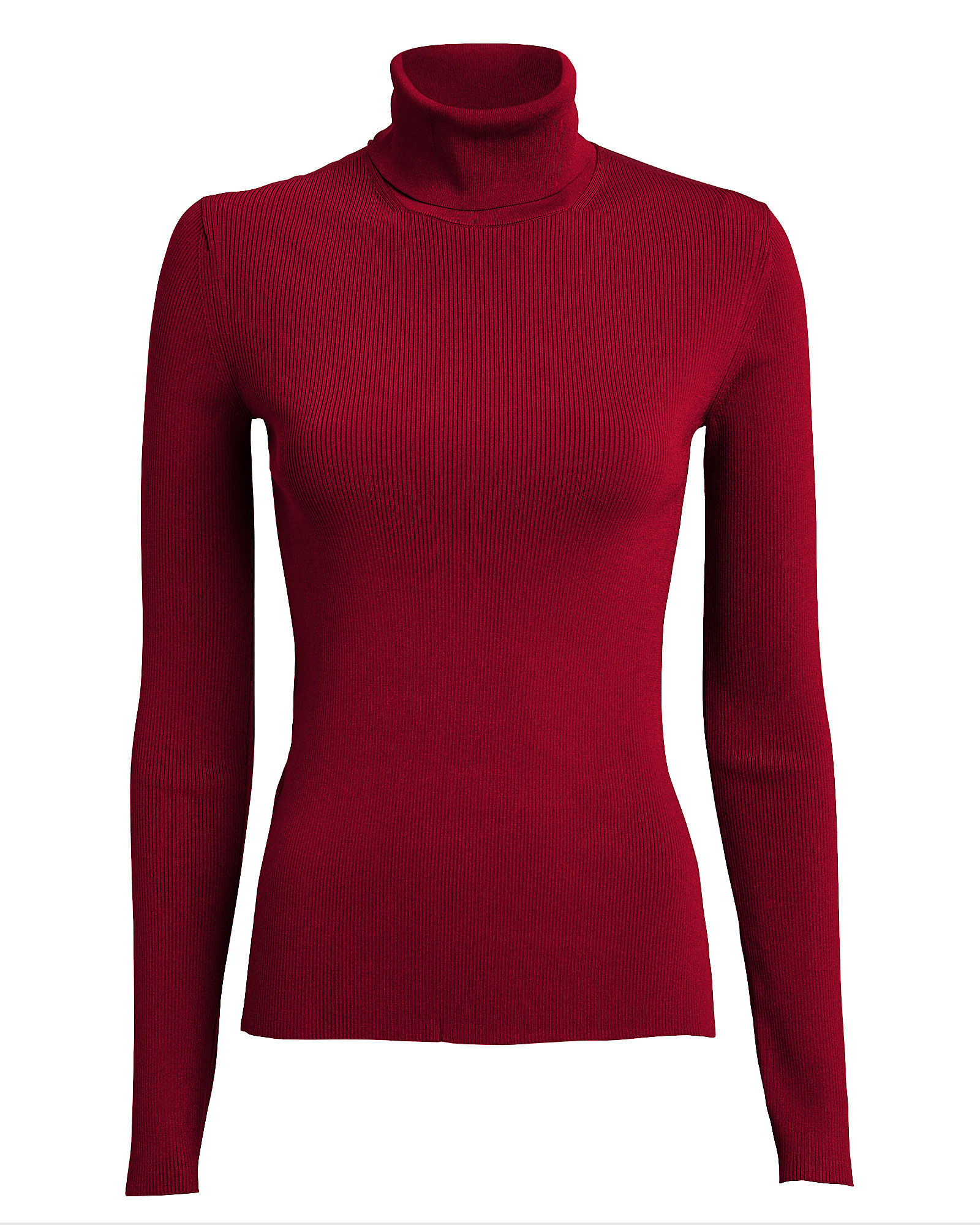Ribbed Stretch Turtleneck Top, RED, hi-res