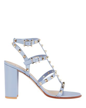 Rockstud Gladiator Heeled Sandals, LIGHT BLUE, hi-res